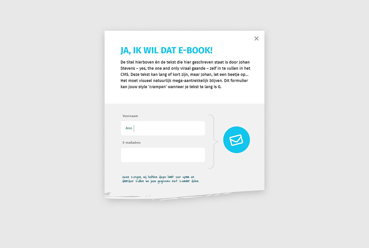 actie pop-up website
